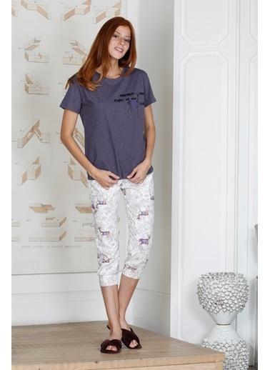 Hays U.D.A.W Kadın Geyik Desenli Penye Kapri Pijama Takımı Mor